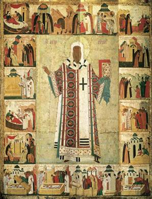 Hagiographic icon of Metropolitan Alexei. The end of the XV-beginning of XVI century.