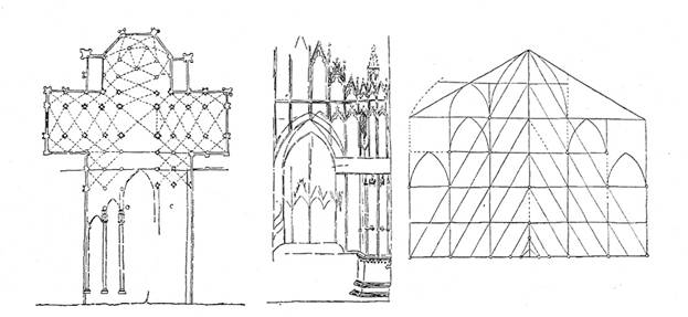 Medieval drawings Milan Cathedral (plan with a fragment of the section, the facade of the proportional scheme).