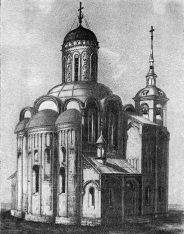 Demetrius Cathedral in 1843 (before the demolition of annexes). Drawing By F. Dmitriev.
