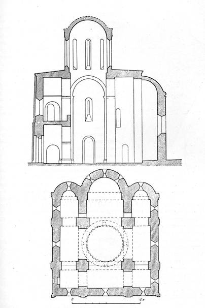 Silt. 1. Section and plan classical cross-domed three-aisled temple