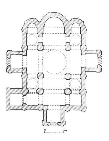 The plan of the assumption Cathedral of Andrei Bogolyubsky of Vladimir. Reconstruction of the author. 