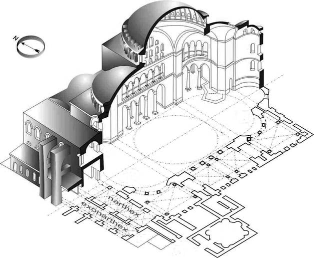 Saint Sophia Cathedral in Constantinople. Axonometric section.