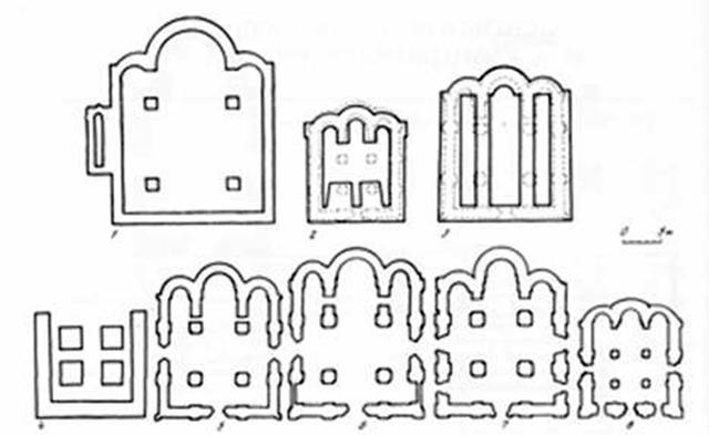 Plans Galician and Suzdal churches (O.M. Ioannisian):