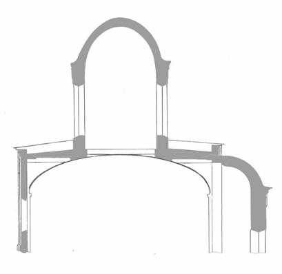 The scheme of replacement of three pairs of longitudinal arch of one pair for the entire length of the temple 