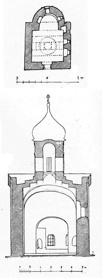 Church of the assumption in Gdov. Plan and elevation.