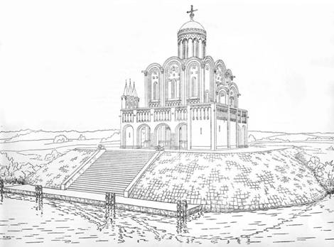 Reconstruction of the original form of the Church of the Intercession on the Nerl (according to N. N. Voronin)