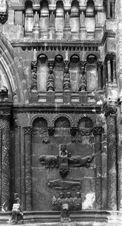 "A fragment of decoration of ""Scottish"" the Church of St. Jacob in Regensburg, Germany."