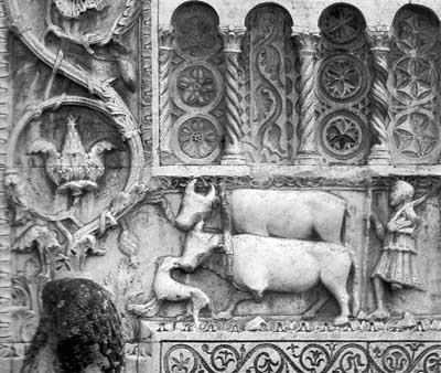 A fragment of decoration of the Church of San Pietro ' Fiori Le Mura in Spoleto (Spoleto), Umbria-Umbria), Italy.