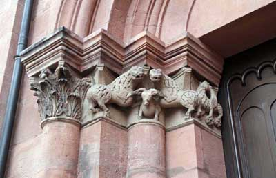A fragment of decoration of the portal of the Cathedral in Mainz, Mainz, Germany.