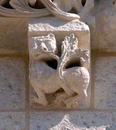 A fragment of decoration of the Church of St. Peter in Fontaine d Osijek (Fontaines d Ozillac), the Department of Charente Maritime (Charente-Maritime), France.