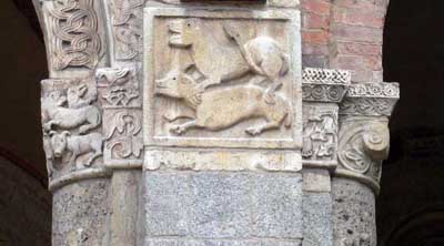 A fragment of decoration of the Cathedral of San Ambrogio in Milan (Milano), Italy.