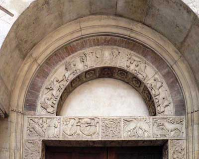 A fragment of decoration of the Cathedral in Modena (Modena), Italy.