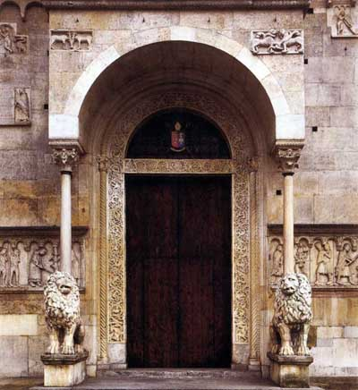 The portal of the Cathedral in Modena (Modena), Italy.