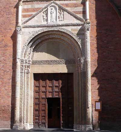 The portal of the Church of San Pietro in Ciel d'oro in Pavia (Pavia), Italy.