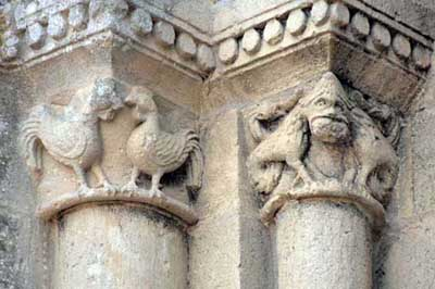 A fragment of decoration of the Church of St. Peter in Mareste (Martestay), the Department of Charente Maritime (Charente-Maritime), France.