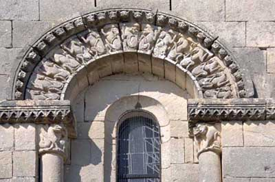 A fragment of decoration of the Church of Saint-Erie in Mata (Matha), the Department of Charente Maritime (Charente-Maritime), France.