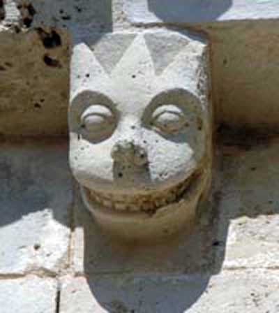A fragment of decoration of the Church of Saint-Brice in Saint-Mande-sur-Breuer (Saint-Mandé-sur-Brédoire), the Department of Charente Maritime (Charente-Maritime), France.