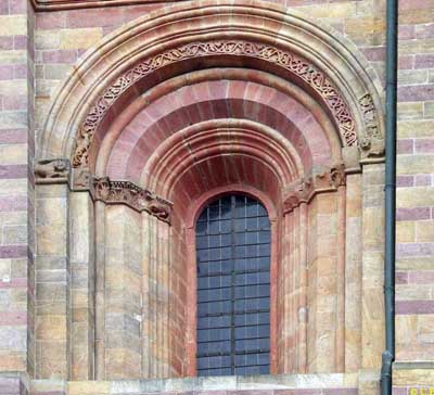 The window of the Cathedral in Speyer (Speyer, Germany.