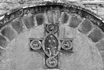 A fragment of decoration of the Church of Santa Maria de Vallespir in Arles-sur Teich (Arles-sur-Tech), Department of Eastern Pyrenees-Orientales, France.