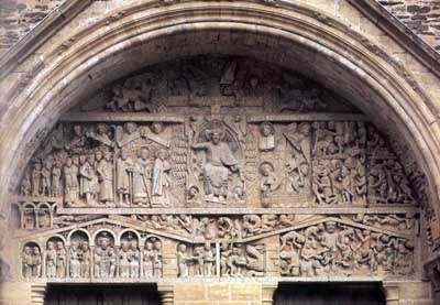 The tympanum of the portal of the Church in Conques-EN-Ruark (Conques-en-Rouergue), Department Aveyron (Aveyron), France.