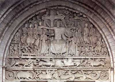 The tympanum of the portal of the Church in Beaulieu-sur-Dordogne (Beaulieu-sur-Dordogne), Department of Correze (Corrèze), France.