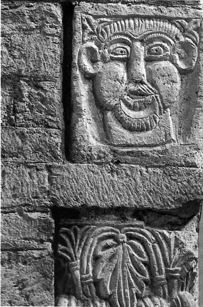 A fragment of decoration of the Church of Saint-Philibert in Turnu (Tournus), Department of Saone et Loire (Saône-et-Loire), France.