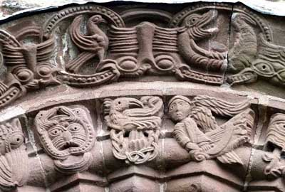 A fragment of decoration of the Church of St. Mary and David in Cilice (Kilpeck), Herefordshire (Why), England.