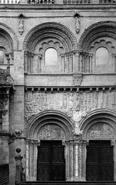 A fragment of decoration of the Cathedral in Santiago Compostela (Compostela), the region of Galicia (Galicia, Spain.
