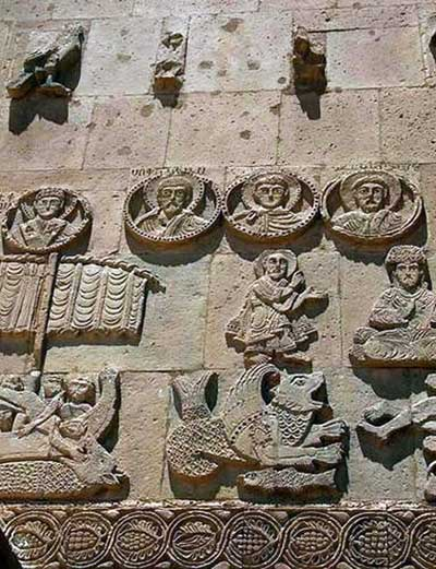A fragment of decoration of a temple of the Holy cross on Akhtamar island, Armenia.