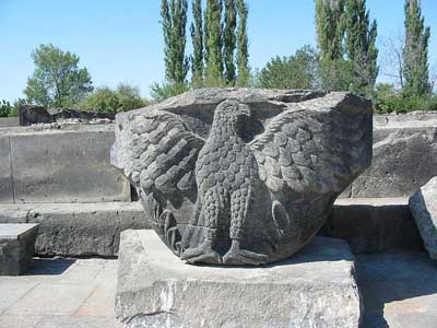 A fragment of decoration of the temple of Watching forces in Zvartnots Armenia.