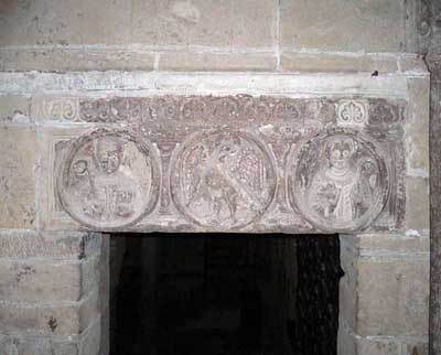 A fragment of decoration of the Church of San Michele in Pavia (Pavia), Italy.