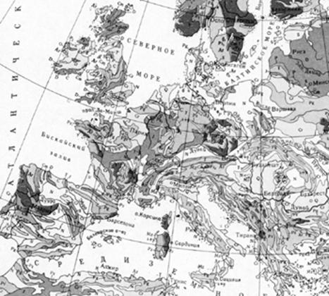 Geological map of Western Europe.