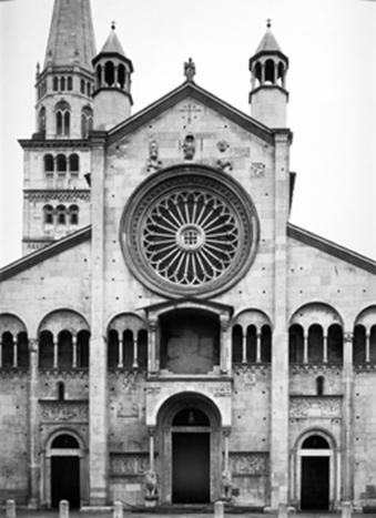The facade of the Romanesque Cathedral in Modena.