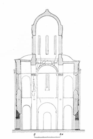 The status of the Dmitrievsky Cathedral before restoration in the mid-twentieth century (drawing AV Stoletov). Are the specific destruction of arches and pillars and walls up the difference because of their spreading out the drum.