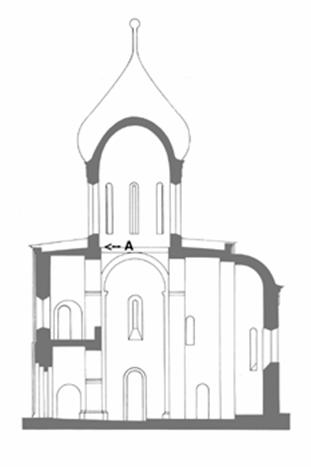 The section of the Transfiguration Cathedral of Pereslavl. 