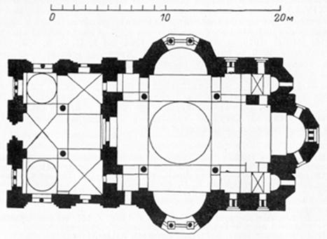Athos. The plan of the Cathedral of the Hilandar monastery (XIII - XIV century).