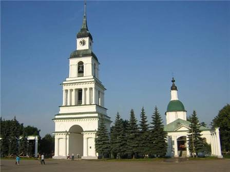 The bell tower and Church in the village Slobodskoye.