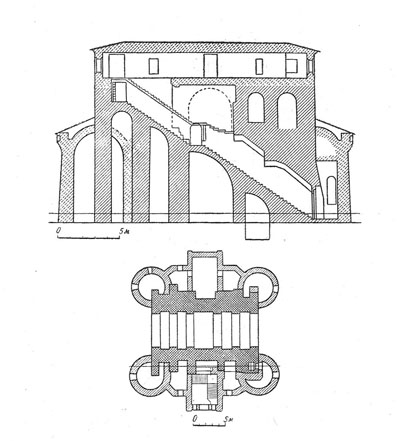 The Golden gate. Section and plan.