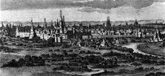 The Moscow Kremlin. A fragment of the engraving K. de Bruyne. 1702.