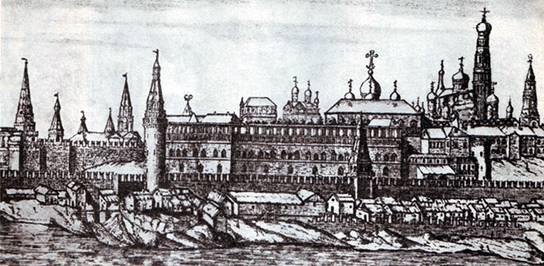 The Moscow Kremlin on the engraving by P. Picard. Beginning of XVIII century.