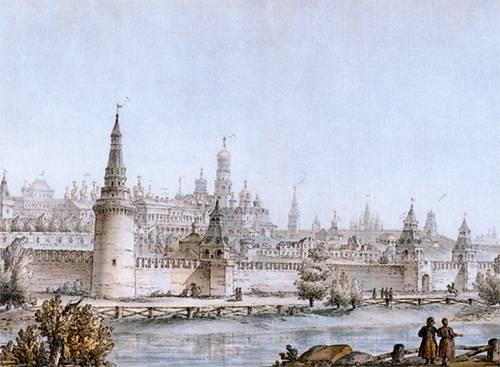 The Moscow Kremlin in watercolour J. Quarenghi. 1768.