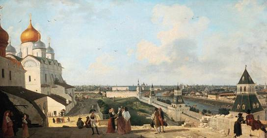 J. Gelabert. View of Moscow from the balcony of the Kremlin Palace in the direction of the Moskvoretsky bridge. 1797.