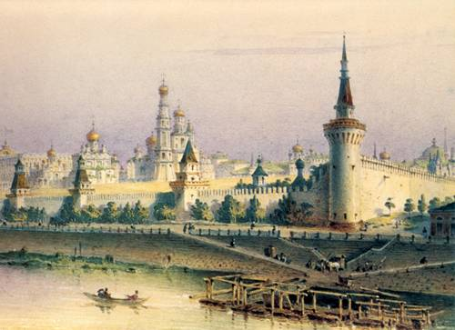 The Moscow Kremlin in watercolour I. Weiss. 1852.