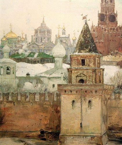 . The Kremlin in the winter. Painting By M. V. Nesterov. 1897.