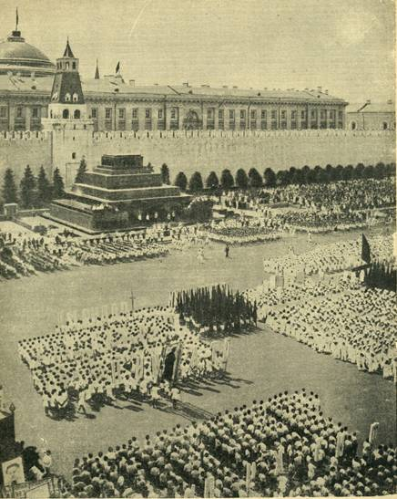 Athletes parade on red square. 1932.