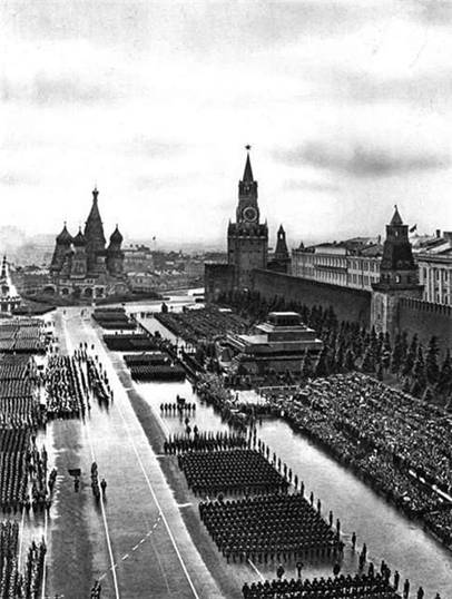 Victory day parade on red square. 1945.