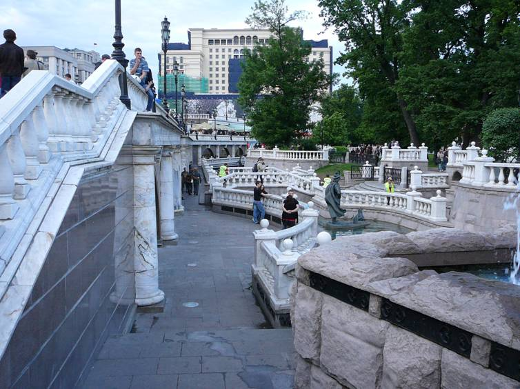 "Shopping complex ""Okhotny Ryad"" (architect – Michael Posokhin Jr.), which together with the accomplishment of ""adjacent territory"" entered Alexander Garden, destroyed part of the historical fence essentially violated the solemn atmosphere around the Tomb of the Unknown Soldier ."