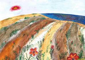 Sergey Zagraevsky. Poppies in Crimean steppe.