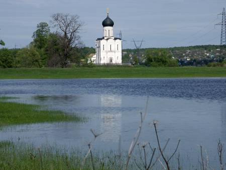The Church of the Intercession on the Nerl. View from the water meadows.