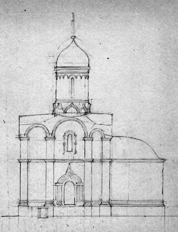 The Church of Archangel Michael in Sinkova. South facade. Sketch of reconstruction Kavelmahera.